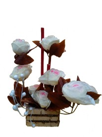 Floral Expressions White Rose Artificial Flower with Pot
