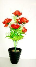 KAYKON Melamine Pot Red Rose Artificial Flower  with Pot