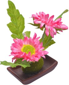 Scrafts Ceramic Plate Base Small Twin Pink Sunflower Artificial Flower  with Pot