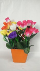 Kaykon Multicolor Assorted Artificial Flower  with Pot