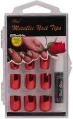 Nail Sina Artificial Nails Nail Sina Metallic Nail Tips Red