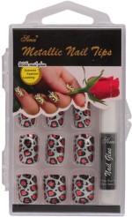 Nail Sina Artificial Nails Nail Sina Metallic Nail Tips Silver, Red