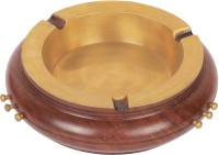 Craft Art India Round Shape Decorative Wooden Table Top For Cigarette / Cigar Etc. Brown Wooden Ashtray (Pack Of 1)