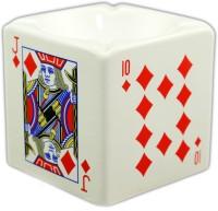 Importwala Ceramic Diamond Playing Card Ashtray White, Red Ceramic Ashtray (Pack Of 1)