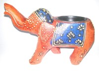 Seema's Craft Creation Antique Looking Ash Tray Elephant Multicolor Wooden Ashtray (Pack Of 1)