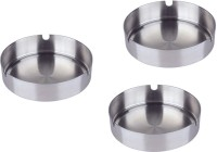 King Traders Black Stainless Steel Ashtray (Pack Of 3)