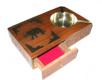 Crafts Paradise Handcarved Jaali And Elephant Design Brass Inlay Work With Cigrette Case Multicolor Wooden Ashtray (Pack Of 1)