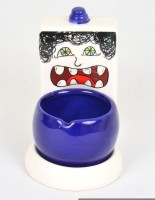 Scrafts Funky Bathroom 07 Blue, White Ceramic Ashtray (Pack Of 1)