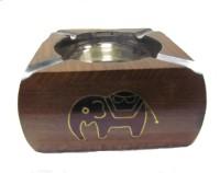 S C Handicrafts Brown, Steel Wooden, Steel Ashtray (Pack Of 1)