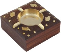 Craft Art India Wooden Embossed Brass Design Brown Wooden Ashtray (Pack Of 1)
