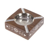 Urban Monk Creations Classicashy Brown, Silver Wooden, Stainless Steel Ashtray (Pack Of 1)