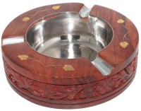 Desi Karigar Brown, Steel Wooden Ashtray (Pack Of 1)
