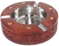 Desi Karigar Brown, Steel Wooden Ashtray (Pack Of 1)