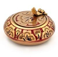 Indiangiftemporium Pure Brass Meenakari Work Handicraft -203 Gold Brass Ashtray (Pack Of 1)