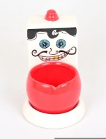 Scrafts Funky Bathroom 09 Red, White Ceramic Ashtray (Pack Of 1)