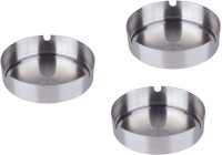 Sssilverware SS-ASH-SET-03 Pcs Silver Stainless Steel Ashtray (Pack Of 3)