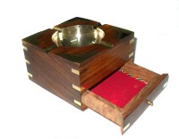 Crafts Paradise Brass Inlay Work With Cigrette Case Multicolor Wooden Ashtray (Pack Of 1)