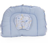 Blue Berrys Jumbo Bed With Mosquito Net Convertible Crib (Cotton, Blue)