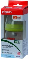 Pigeon Wide Neck Feeding Bottle (Peristaltic Plus Nipple) Round Hole Green - 160 Ml (Green)