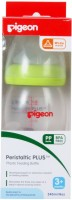 Pigeon Wide Neck Nursing Bottle 240ml With Plus Type Medium Size Nipple - Green - 240 Ml (Green)