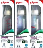 Pigeon Peristaltic Nipple BPA BPS Free Set of 3 bottles with bottle feeding tips leaflet
