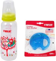 Farlin Baby Feed Bottle & Baby Toy Combo - 240 Cc (Blue)