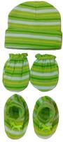 Kerokid Lining Green Mittens Booties Cap Baby Care Combo Set (Green)