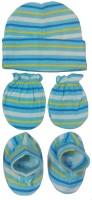 Kerokid Lining Blue Mittens Booties Cap Baby Care Combo Set (Blue)
