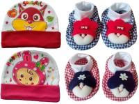 Kerokid Cutee Rabbit Love Squirrel Caps & Dark Checks Face Booties Baby Care Combo Set (Multicolor)