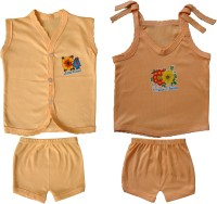 Jack & Ginni New Born Baby Clothes (Cream, Brown)