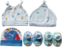 Kerokid Cutee Blue Caps & Booties Baby Care Combo Set (Multicolor)