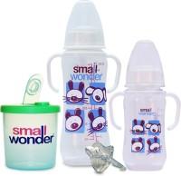 Small Wonder Clear Set Of 4 - BPA Free Clear 125ml & 250ml PP Bottle, Orthodontic LSR Pacifier & 300ml Milk Powder Dispenser (Transparent, Green)