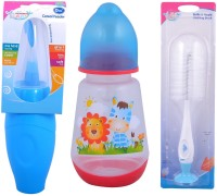 Mommas Baby Combo Of 3 Pcs Bottle Cereal Feeder 180ml/ Feeding Bottle 125ml / Cleaning Brush (Blue)