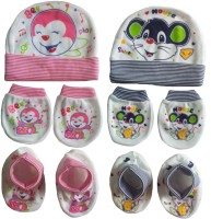 Kerokid Cotton Play Bee & Sweet Mouse Lining Mittens Booties Cap Baby Care Combo Set (Multicolor)