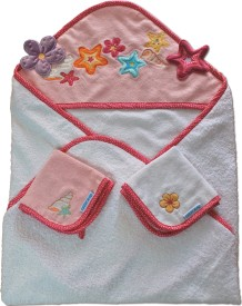 Abracadabra Hooded Towel with Two Face Washer - Sea Shells