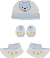 Buds N Blossoms Mittens Booties Cap Combo Set (Blue, White) - BBCEDHCY3AVWJJH7