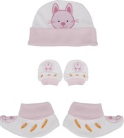 Buds N Blossoms Mittens Booties Cap Combo Set (Pink, White)