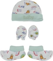 Buds N Blossoms Mittens Booties Cap Combo Set (White, Green)
