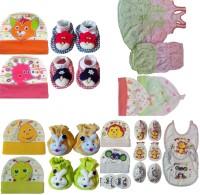 Kerokid Cotton Frocks Bloomers Caps Mittens Booties Bibs Baby Care Jumbo Combo Set (Multicolor)