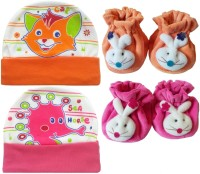 Kerokid Cutee Cat Sea Horse Cotton Caps & B12 Face Booties Baby Care Combo Set (Multicolor)