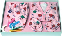 Flo-Rite New Just Born Infant Baby Kids Wear My First Bear Hosiery 6 Pcs Gift Set (Pink)