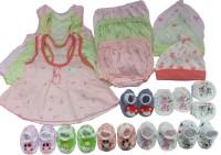 Kerokid Cutee Frocks Bloomers Mittens Booties Caps Jumbo Baby Girls Combo Set (Multicolor)