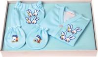 Flo-Rite New Just Born Infant Baby Kids Wear Rabbit 5 Pcs Gift Set (0-6 Months) (Light Blue)