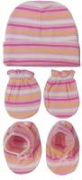 Kerokid Lining Pink Mittens Booties Cap Baby Care Combo Set (Pink)