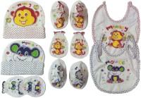 Kerokid Monkey Mouse Mittens Booties Cap Bib Baby Care Combo Set (Multicolor)