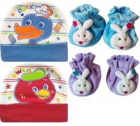 Kerokid Cutee Duck Owl Flower Cotton Caps & B12 Face Booties Baby Care Combo Set (Multicolor)