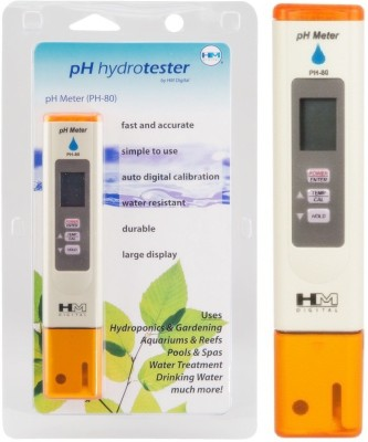 HM PH Meter PH-80: HydroTester LCD Display with Auto Calibration & Temperature Display Bath Thermometer (Ivory)