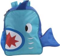 Bleu School Kids Bag - 14 Inches - Fish Shape Boys Girls Bag - 35 14 L Backpack (Royal Blue & Sky Blue)
