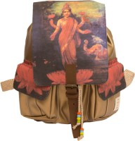 The House Of Tara Golden Faux Leather And Canvas Godess Lakshmi Bag 16 L Medium Backpack Multicolor, Size - 350