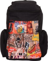 Kanvas Katha Knapsack Canvas Digitally Printed 20 L Backpack (Black)